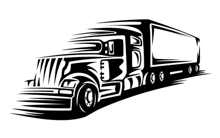Delivery truck moving on road for transportation concept Vector