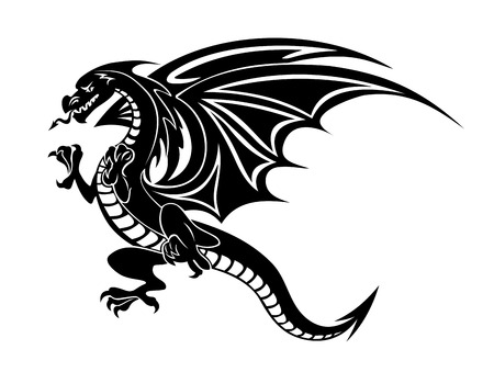 dragon tattoo design: Angry black dragon tattoo isolated on white background. Vector illustration