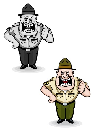 Angry military sergeant in cartoon style. Vector illustration Vector