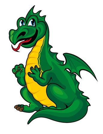 Fantasy green dragon kid in cartoon style. Vector illustration