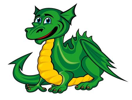 Fantasy green dragon in cartoon style. Vector illustration