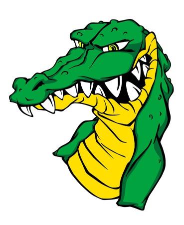 Angry green alligator crocodile in cartoon style. Vector illustration