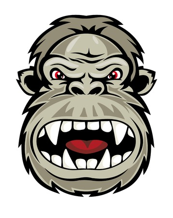 Wild gorilla monkey head for mascot design. Vector illustration