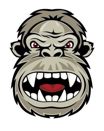 king kong: Wild gorilla monkey head for mascot design. Vector illustration