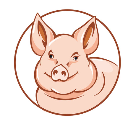 Farm pig in circle for agriculture design Vector