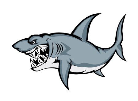 shark cartoon: Gran tiburón enojado aislado sobre fondo blanco. Ilustración vectorial