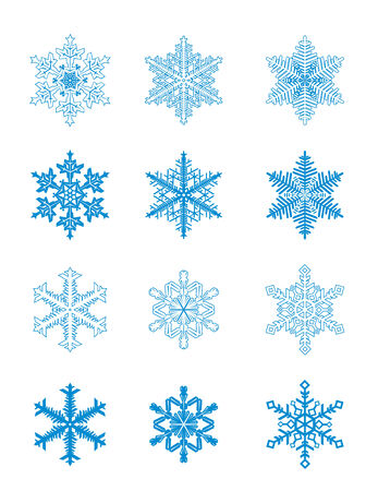 Set of blue snowflakes for design. Vector illustration