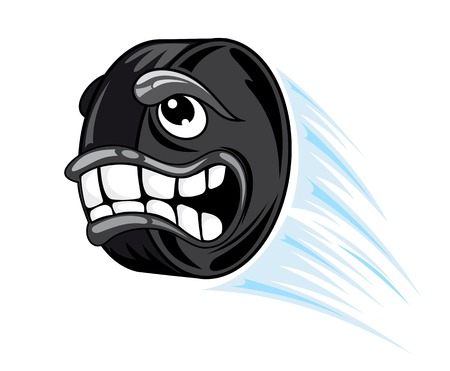 Flying hockey puck in cartoon style. Vector illustration Vector