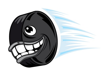 Smiling hockey puck in cartoon style. Vector illustration Vector