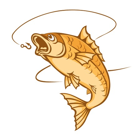 Catching fish on hook for fishing sports dsign Vector