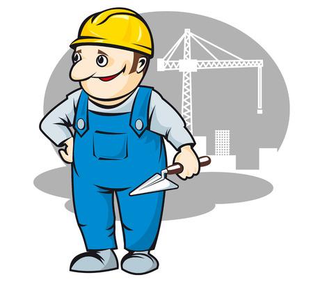 建設産業の設計のための漫画のスタイル ビルダーの笑みを浮かべてください。  イラスト・ベクター素材