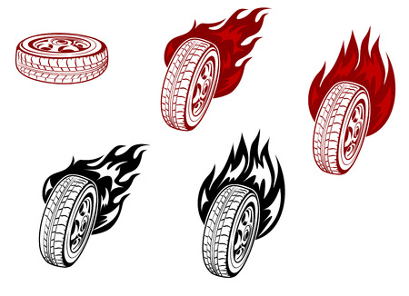 Wheels with fire flames for racing symbols or tattoos