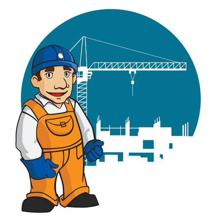 hard working man: Smiling builder in cartoon style for design construction industry