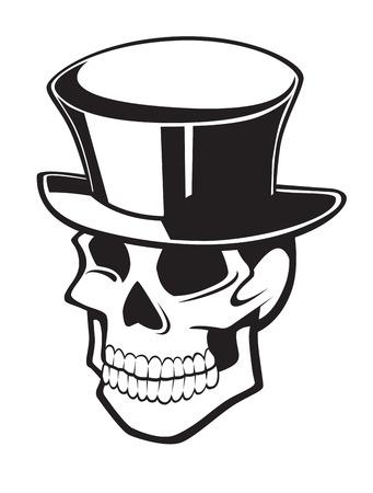 設計の白い背景で隔離のための黒い帽子に笑みを浮かべてスカル