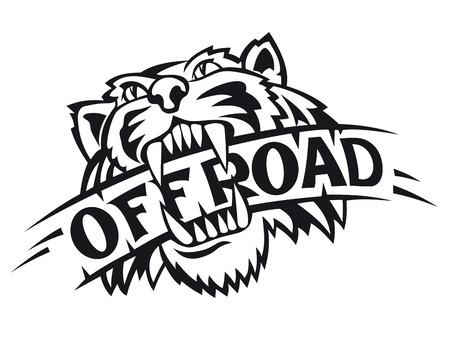 白い背景で隔離のオフロード シンボルとして野生のトラ  イラスト・ベクター素材