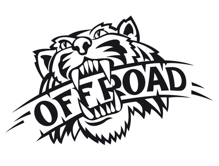 tigre caricatura: Tigre salvaje como s�mbolo offroad aislado en fondo blanco Vectores