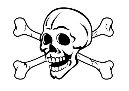 タトゥーのデザインや海賊の概念のための骨の頭骨  イラスト・ベクター素材