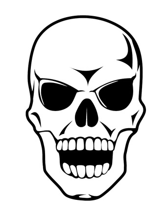 Black skull in cartoon style for tattoo design or death concept Vector