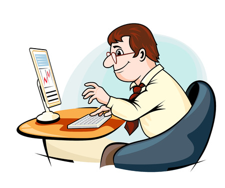 Smiling businessman in cartoon style working on computer Ilustração