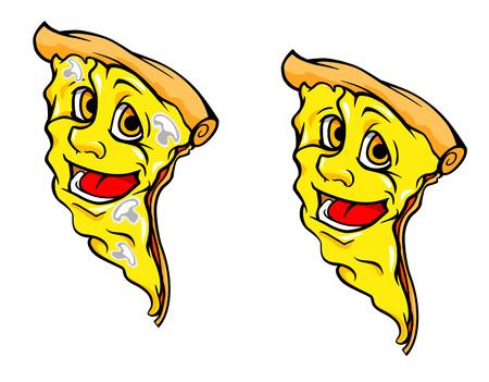 ファスト ・ フード デザインの漫画のスタイルでキノコとおいしいピザの作品