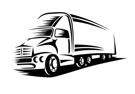 Big delivery truck moving on road for transportation design or concept Vettoriali