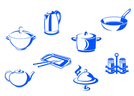 キッチン食器オブジェクトを白い背景で隔離のセット