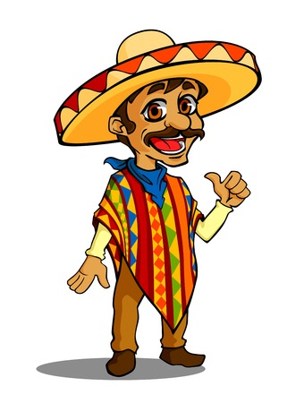 mexican cartoon: Mexican man in cartoon style isolated on white background