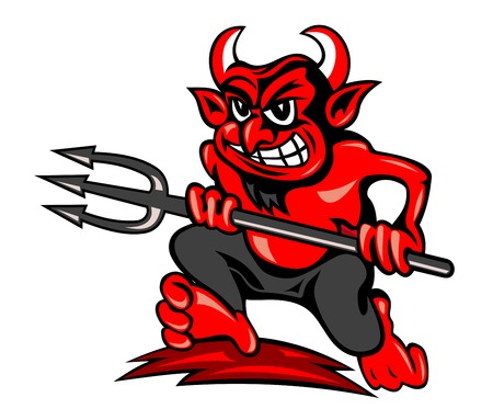 Red devil with trident in cartoon style running on land