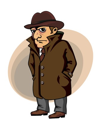 Detective or spy man in cartoon style for security concept design