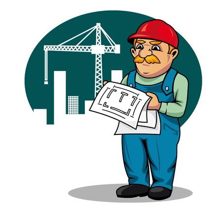 漫画のスタイルの建設現場にスキームを構築とエンジニア リングします。