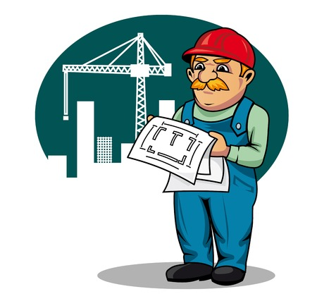 building contractor cartoon: Engineer with building scheme on construction site in cartoon style