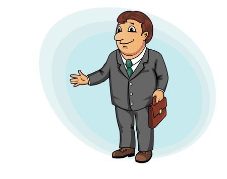 ビジネス設計上の漫画のスタイルのブリーフケースを持ったビジネスマン