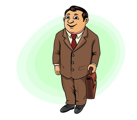 Smiling businessman with briefcase in cartoon style for business design