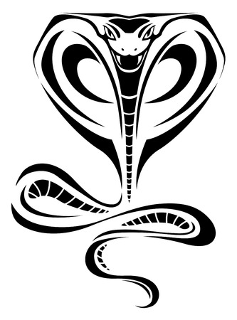 venomous snake: Black silhouette of cobra for tattoo design