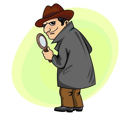 Detective man with magnifying glass in cartoon style Ilustracja
