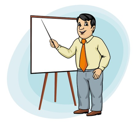 アニメのビジネスマンがホワイト ボードにプレゼンテーションを行う