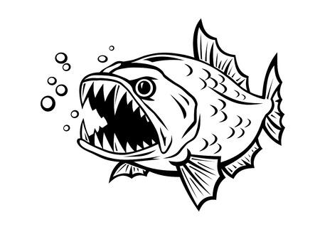 漫画のスタイルの白い背景で隔離の怒っている魚