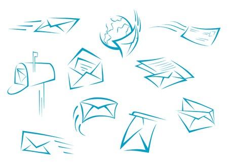 白い背景に分離された封筒とメールのシンボル