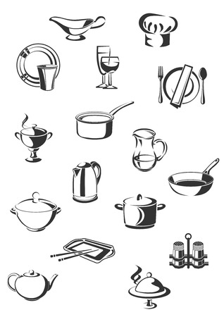serving utensil: Restaurant utensil design elements in outline sketch style including pots, cutlery, serving items, kettle, jug  and chef hat isolated on white background