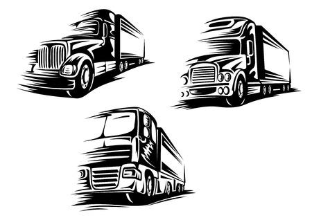 トラックやアウトラインでモーション コースとローリー スケッチ スタイル配信サービスや交通機関の概念設計のための白い背景の分離