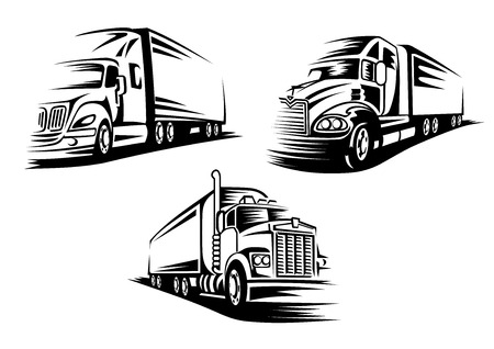 truck road: Commercial delivery cargo trucks silhouettes isolated on white background suitable for   or emblem template