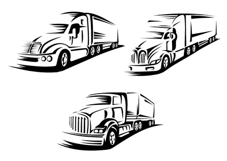 貨物輸送デザイン要素は、白い背景で隔離の動きで輪郭を描かれた大きなアメリカン トラックを含む