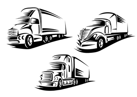 diesel: Cargo trucks with heavy trailers moving on a road in outline sketch style isolated on white background for transportation company or delivery service design