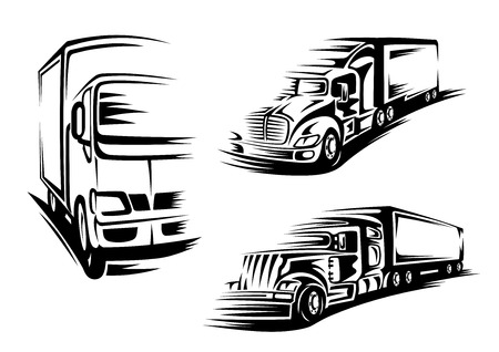 trails: Semi trailer trucks and lorry silhouettes with motion trails isolated on white background suited for commercial cargo transportation design Illustration