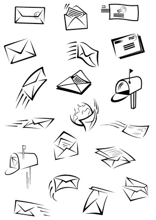 post mail: Mail and letters postal icons depicting envelopes with motion trails, stamps and sheets of paper inside, open post boxes with mail isolated on white background for post service design Illustration