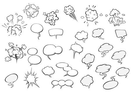 レトロな吹き出しや星、雷やコミックやチャット デザインのためモーション コースで漫画コミック スタイルの爆発雲