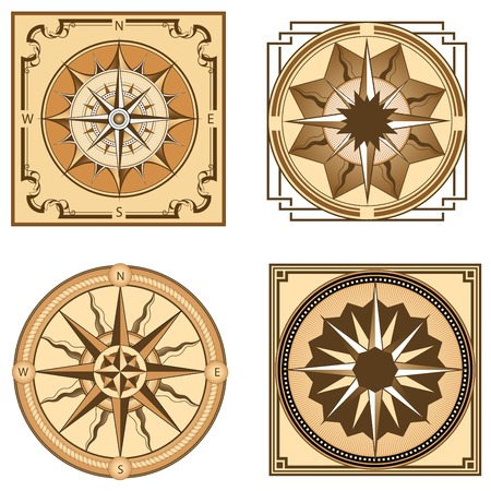 Vintage compasses and compass roses in shades of brown with frames decorated floral and geometric ornaments for adventure or ancient design Illustration