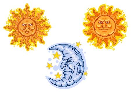ビンテージ ブルー ハーフ ムーン囲まれた星と明るいオレンジ サンズ波状の長い梁の漫画のフェアリー テール デザインのキャラクター