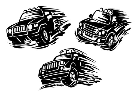 4x4: Dirty jeeps or 4x4 cars in motion with lights on roofs in outline sketch style for safari or extreme rally design Illustration