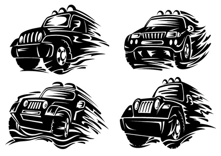 Jeep or crossover silhouettes driving on muddy roads splashing dirt from under the wheels suited for adventure or safari design Vectores